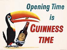 GREAT Original 1930s GUINNESS TIME Beer Poster TOUCAN