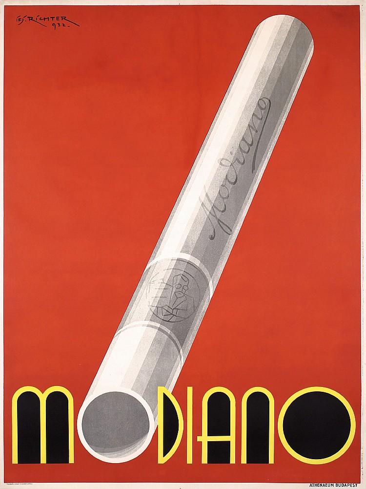 RARE ORIGINAL 1930s Hungarian Modiano Poster RICHTER