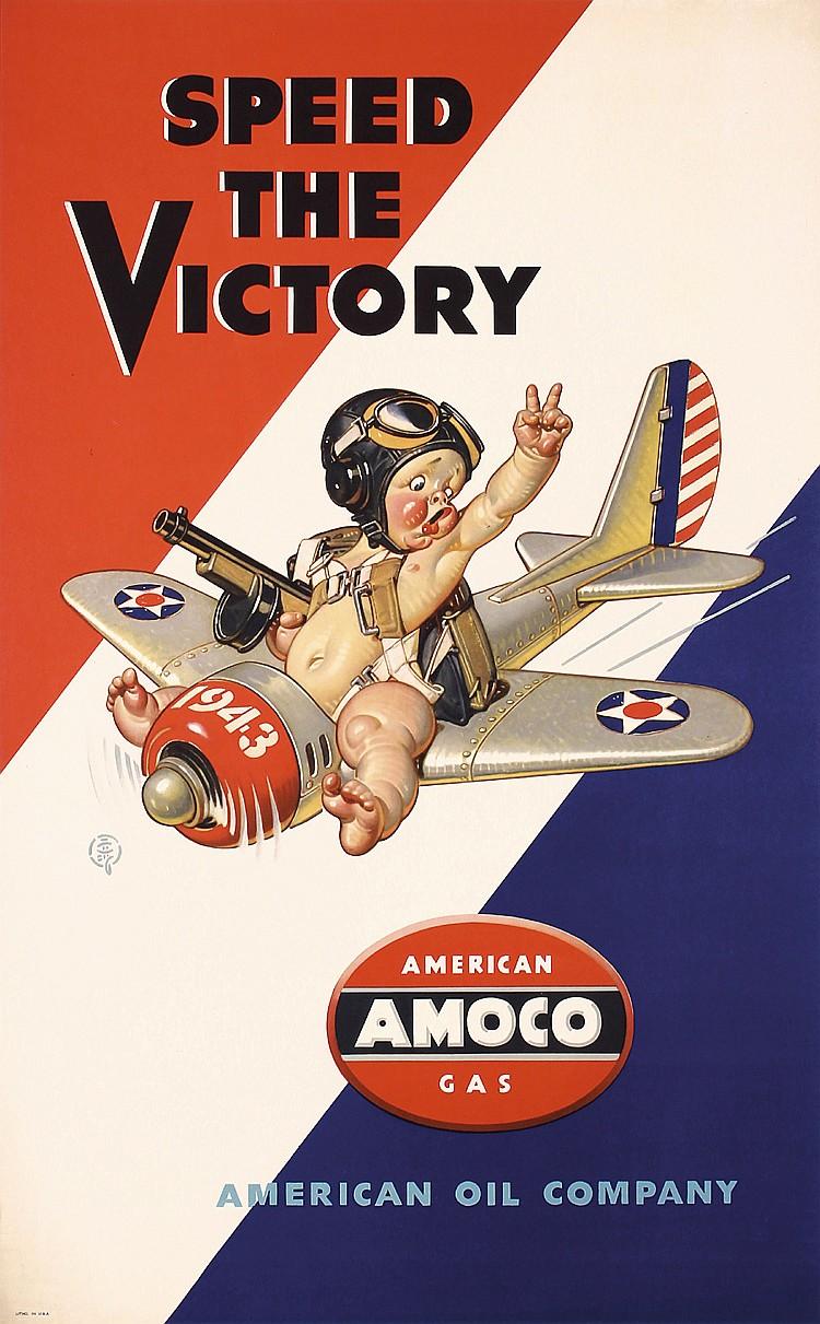 Original LEYENDECKER Amoco World War II Poster Baby Pilot