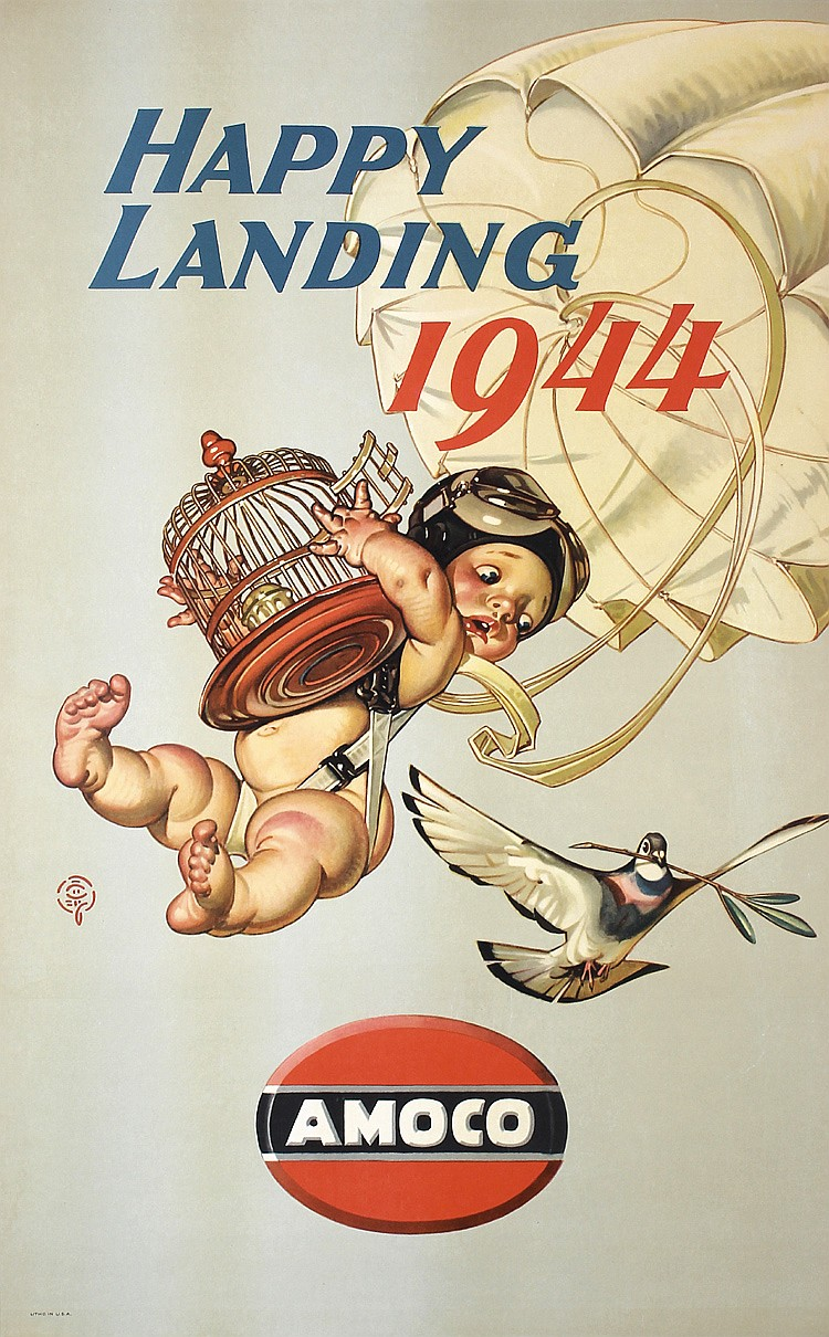 Original LEYENDECKER Amoco World War II Poster Baby