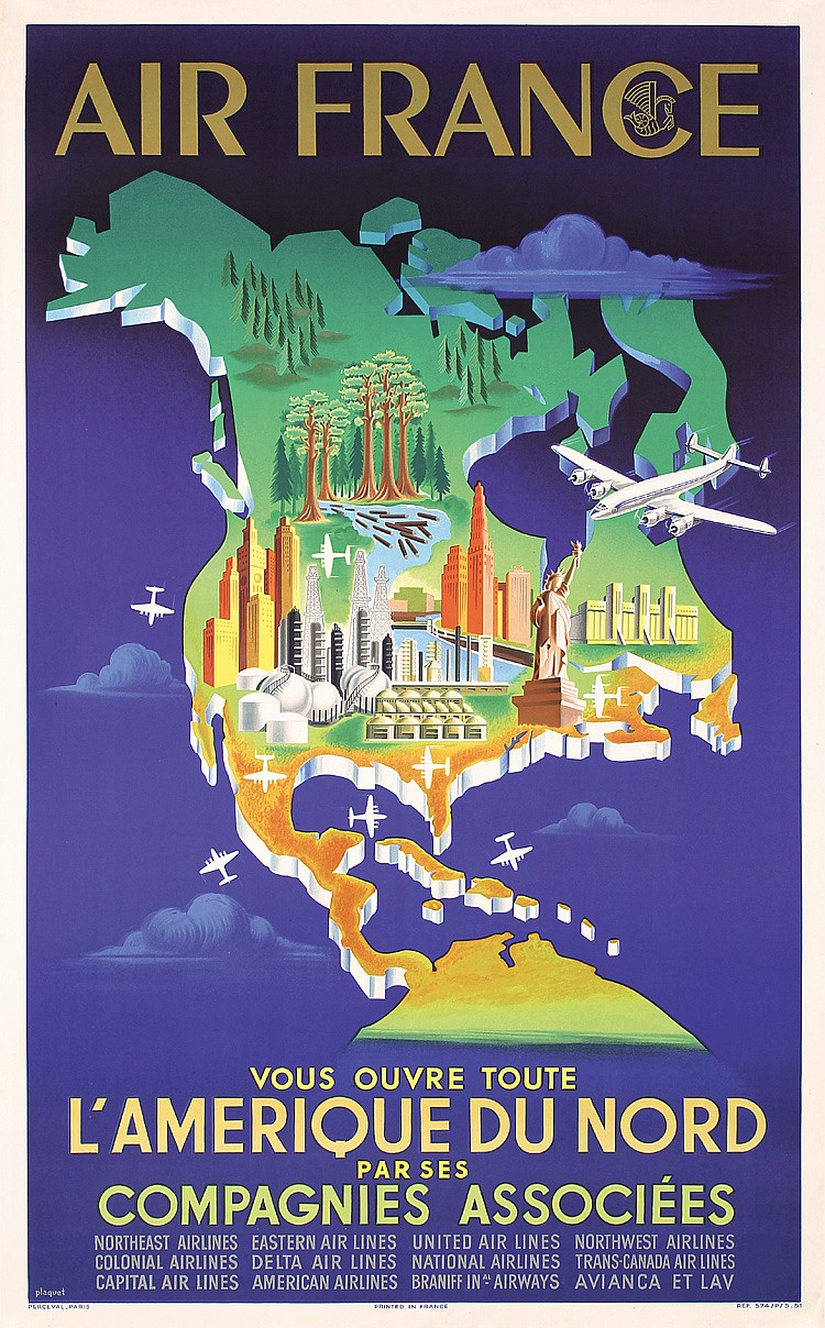 Original 1950s Air France North America Travel Poster