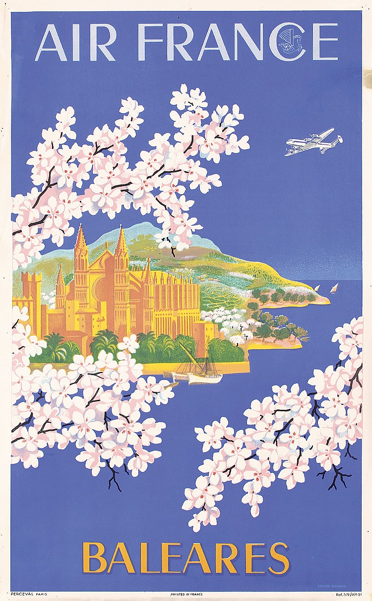 Original 1950s Air France Travel Poster BOUCHER Baleare