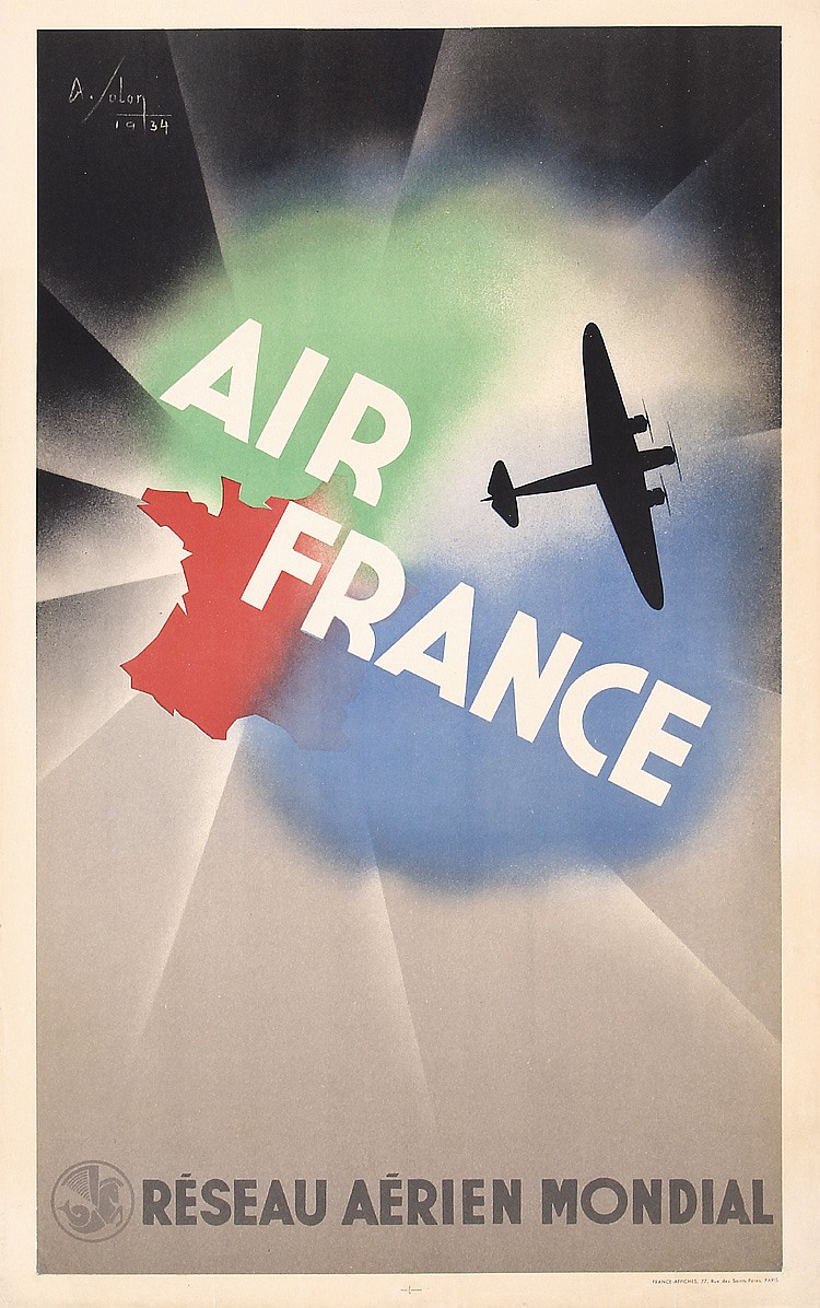 Original 1930s Air France Travel POster ALBERT SOLON
