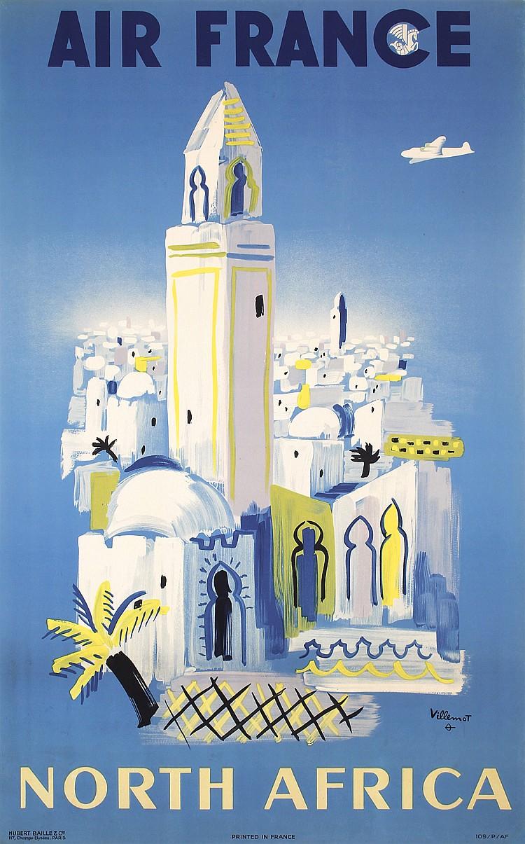 Original 1940s Air France Africa Travel Poster VILLEMOT