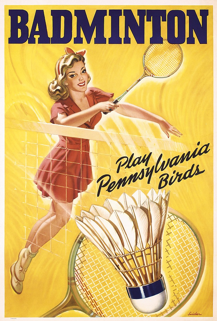 original 1940s 50s american badminton poster pa birds. Black Bedroom Furniture Sets. Home Design Ideas