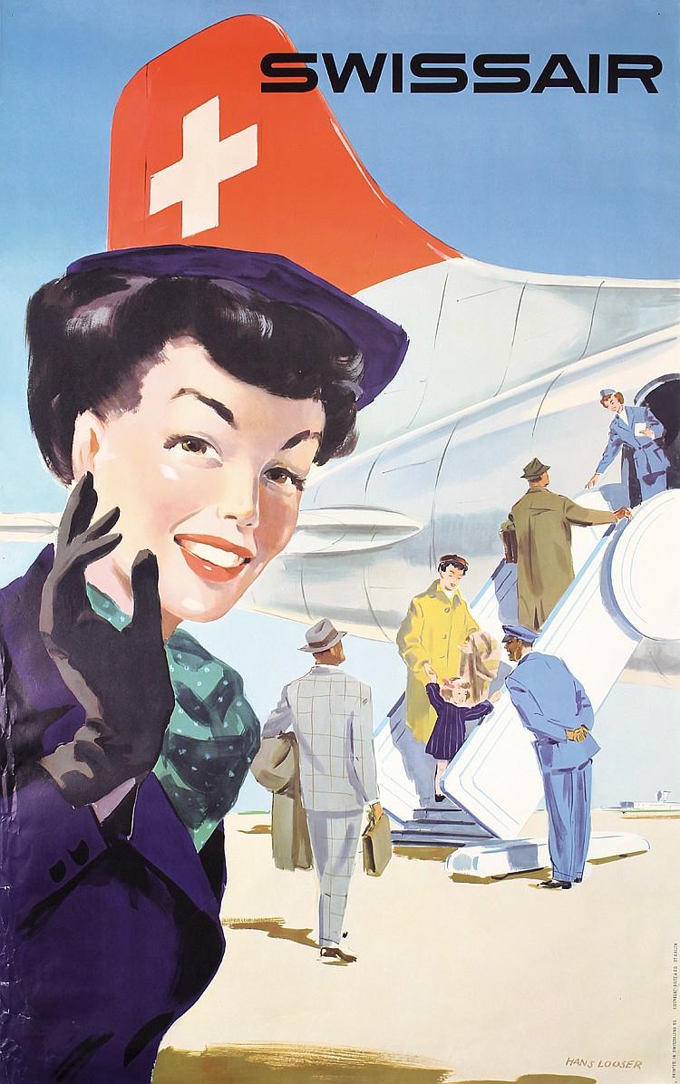 Original 1950s Swissair Travel Poster Plakat LOOSER