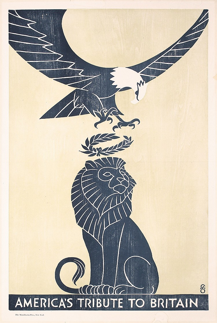 Rare Original World War I Poster USA Eagle UK Lion