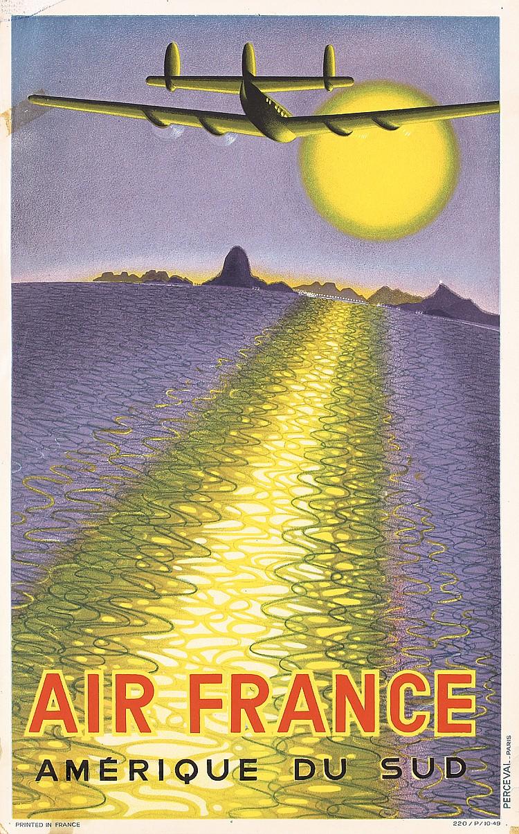 RARE Original 1940s VASARELY Air France Poster South Am