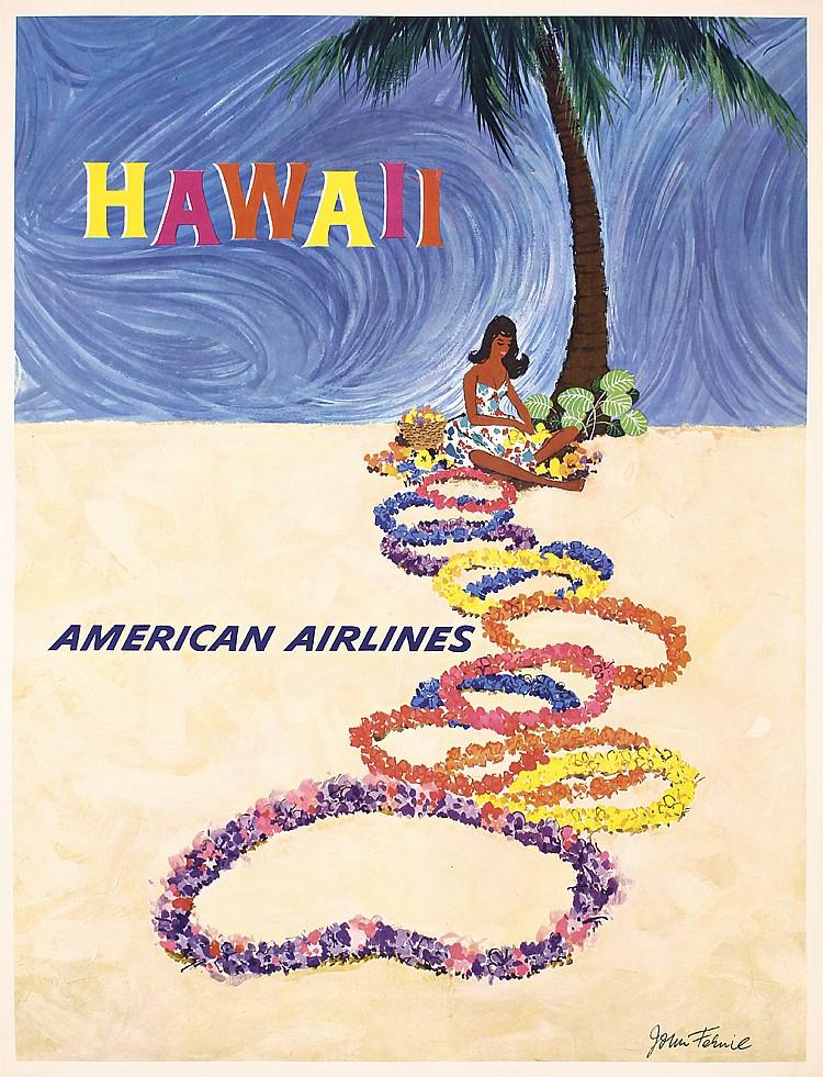 Original 1960s Hawaii Airline Travel Poster FERNIE ART