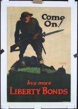 Original Vintage American WW I Bonds Poster COME ON