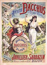 RARE Original 1890s/1900s French WINE Poster BACCHUS
