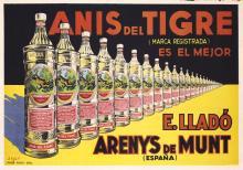 Original 1930s Spanish Liquor Advertising Poster Anis