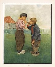 Original 1900s FRANTZ CHARLET Litho Poster Boy Smokers