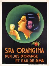 Original Vintage 1930s Art Deco Poster SPA ORANGINA