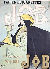 RARE Original 1890s JOB Cigarette Poster JANE ATCHE Art
