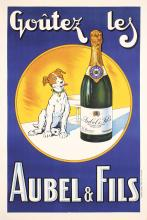 Funny Original 1930s French Champagne Poster AUBEL FILS