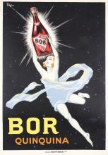RARE Original 1920s French Liquor Poster BOR QUINQUINA