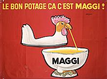 RARE Original 1960s SAVIGNAC Maggi Poster