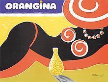 Fantastic 1980s French ORANGINA Poster VILLEMOT Art