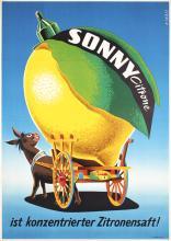 GREAT Old Original 1950s Austrian Lemon Juice Poster