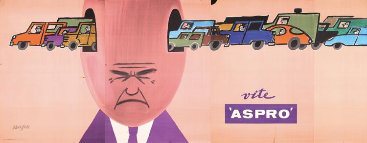Raymond Savignac, Aspro, 1963, 4-sheet poster