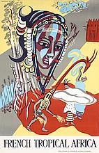 Original Vintage 1950s French Africa Travel Poster MASK