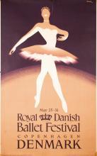 Original Vintage 1950s Danish Ballet Travel Poster