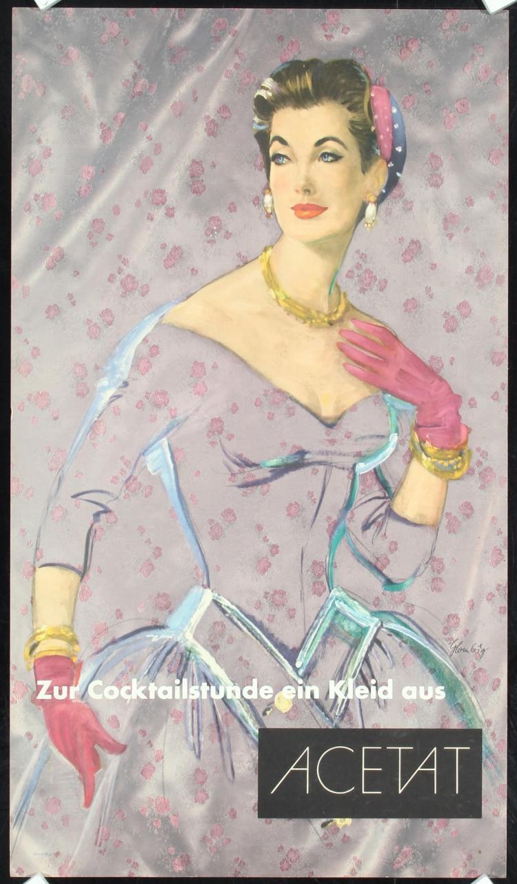 2 Original Vintage 1950s German Advertising Posters