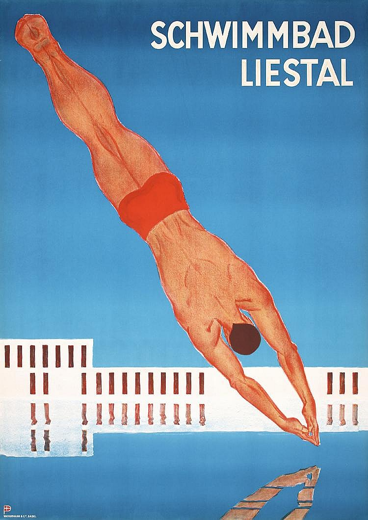 RARE Art Deco 1930s Swiss Travel Poster Swimming Pool