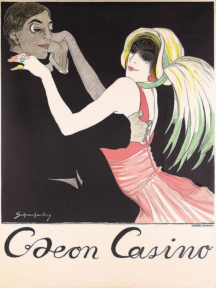 ORIGINAL 1912 SCHNACKENBERG Odeon Casino Poster Plakat