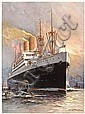 Old 20s HAPAG SS Albert Ballin Travel Poster, Willy Stöwer, Click for value