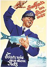 Original 1930s LUDWIG HOHLWEIN Fish Food Poster Plakat