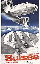 Old Official 1981 Swissair Print Herbert Matter Poster
