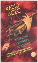 Original 1930s Dutch Violin Music Poster RADIO ACEC