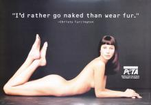Original 1990s Christy Turlington PETA Anti-Fur Poster