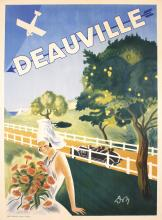 Stunning Original Vintage 1920s DEAUVILLE French Travel Poster