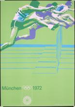 Original 1972 Munich Olympic Games Hurdles Poster