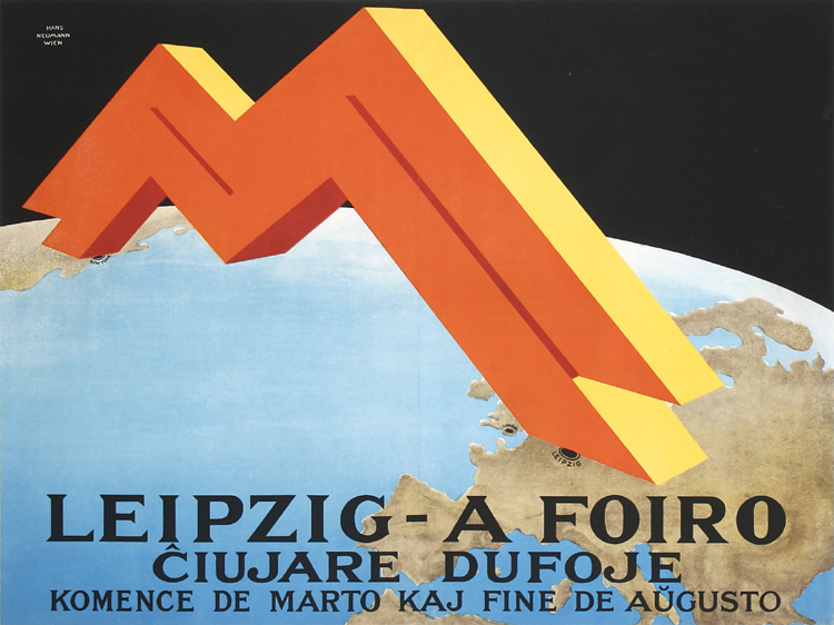 Original Vintage 1920s German Leipzig Fair Poster Hans Neuma
