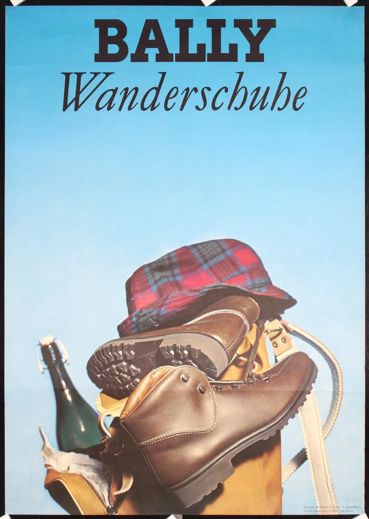 8a4e91ecbab Original Vintage 1960s Bally Hiking Shoe Advertising Poster