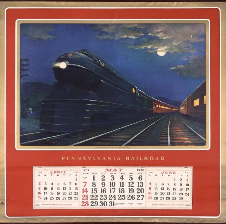 Penn Calendar.Original Vintage 1938 Penn Rail Travel Calendar Poster Complete