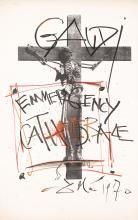 Original Vintage 1970 Modern Art Poster Emergency Cathedral