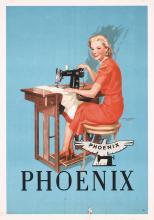 Original Vintage Vintage 1920s Phoenix Sewing Machine Poster
