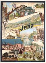 Rare Old Original Vintage 1890s German Travel Poster Jena