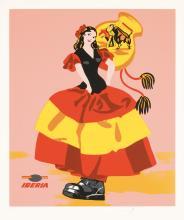Original Vintage 1960s Iberia Travel Poster HAND SIGNED ARROYO