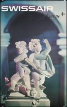 Original Vintage 1960s Swissair Travel Poster SCHWABE Art
