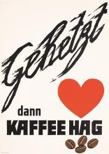 Old Original Vintage 1950s German Coffee Poster KAFFEE HAG