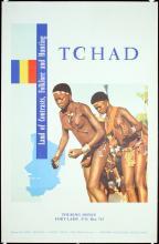 Original Vintage 1950s/60s Africa Tchad Travel Poster