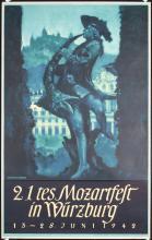 Original Vintage 1940s Mozart Festival German Travel Poster