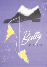 Original Vintage 1950s Bally Shoe Advertising Poster TAU Art