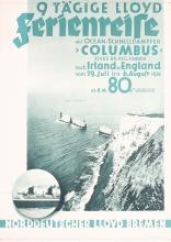 Original Vintage 1930s North German Lloyd Ship Travel Poster